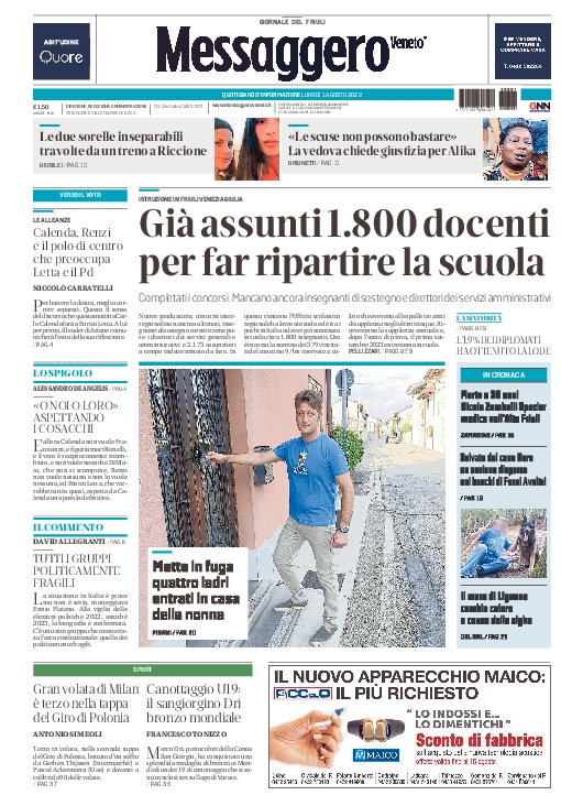 Prima pagina | Messaggero Veneto del Wed Mar 29 07:24:42 CEST 2017