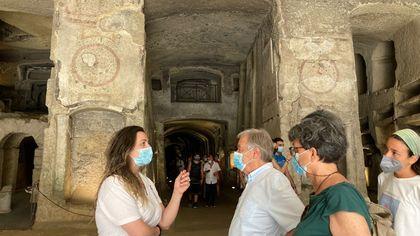 Il segretario dell'Onu António Guterres in visita alle Catacombe di San Gennaro