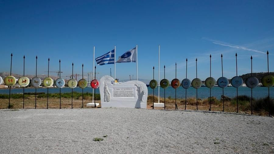 Another image of the Salamis memorial, with the shields and symbols of the various Greek peoples who participated in the battle