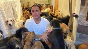 A hurricane hits Mexico, a man opens the door and welcomes 300 dogs (and more) into his home