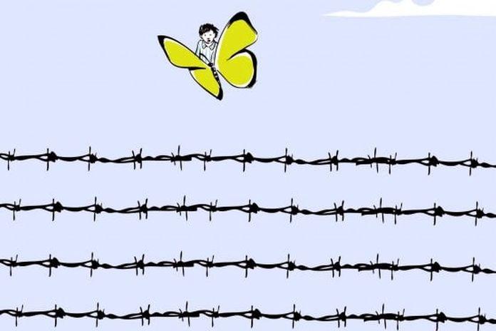 Risultati immagini per immagine della farfalla gialla sopra i fili spinati