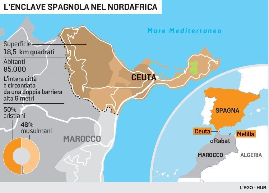 Cartina Muta Marocco.Ceuta Mappa