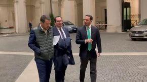 Salvini a colloquio con Draghi a Palzzo Chigi, con lui ci sono Durigon e Freni