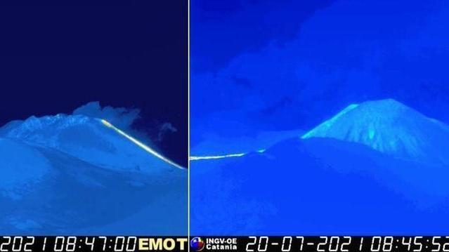 A sinistra il cratere di sud-est come si presentava il 17 gennaio, a destra dopo sei mesi