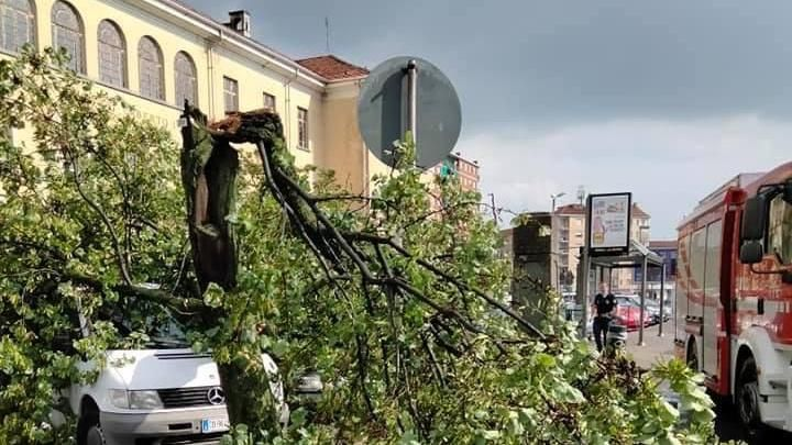 Nubifragio a Torino, le raffiche di vento danneggiano i dehors. A Pino saltano i tombini