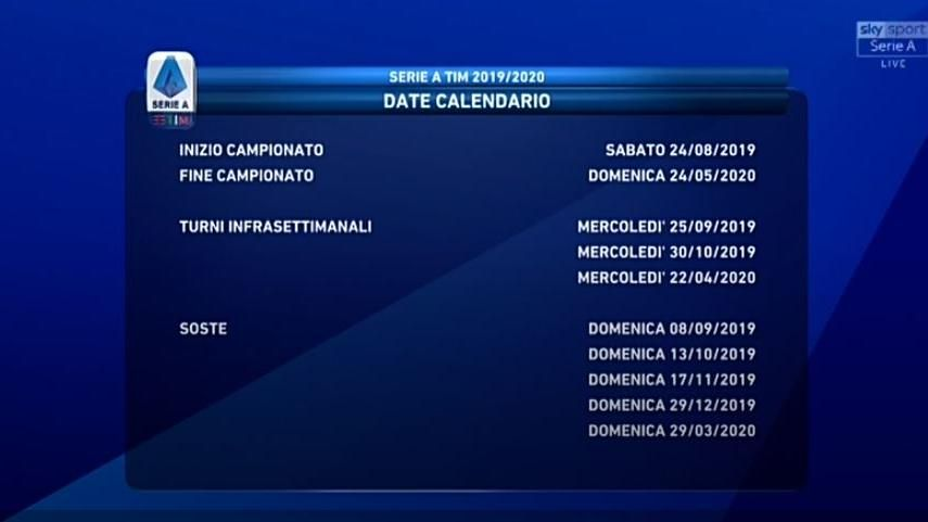 Calendario Di Agosto 2020.Calendario Di Serie A 2019 2020 La Juve Debutta A Parma Poi
