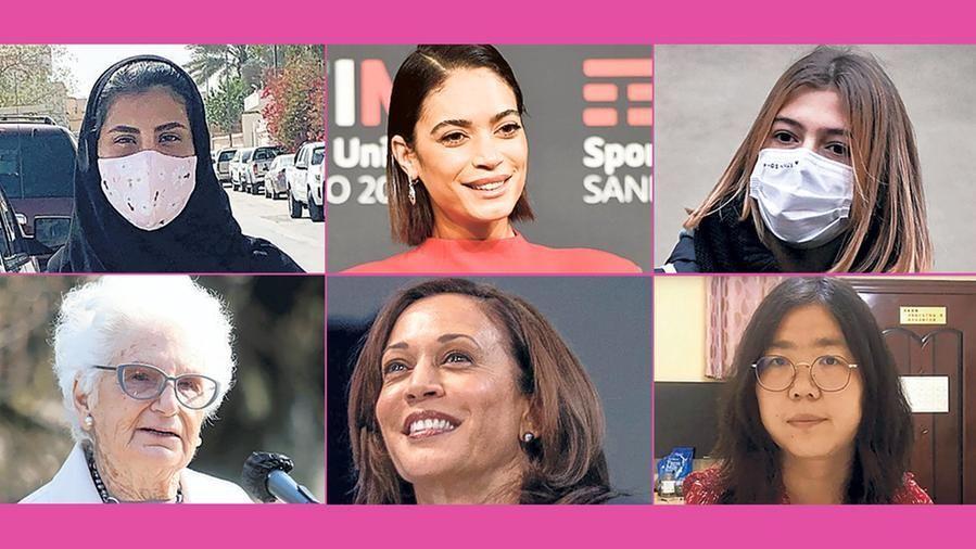 Da in alto a sinistra: l'attivista saudita Loujain al-Hathloul, la cantante italiana Elodie, la studentessa anti-Dad Anita Iacovelli, la senatrice a vita Liliana Segre, la vicepresidente americana Kamala Harris e la blogger cinese Zhang Zhan