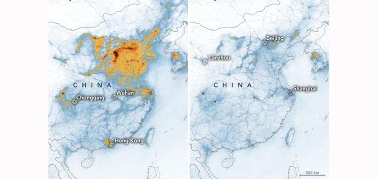 Cartina Climatica Cina.Coronavirus Le Immagini Della Nasa Mostrano La Riduzione Dell Inquinamento In Cina Per La Crisi Economica E Produttiva La Stampa