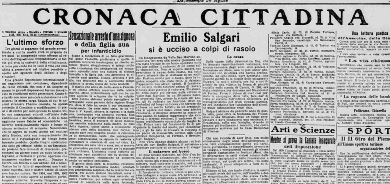 """Un """"seppuku"""" in stile sabaudo: il suicidio dello scrittore Emilio Salgari -  La Stampa"""