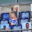 Lazio, tifosi cartonati sugli spalti: c'è anche Anna Falchi