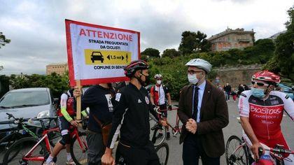 Il ciclista Trentin testimonial di strade sicure per i bambini che vanno a scuola