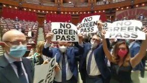 """Camera, i deputati di Fratelli d'Italia occupano il centro dell'aula: """"No green pass"""""""