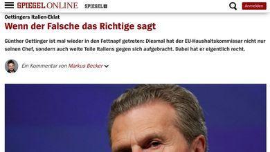 «Se la persona sbagliata dice la cosa giusta»: lo Spiegel difende la frase di Oettinger