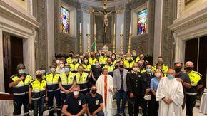 Diano Marina, volontari della Protezione civile in chiesa per la celebrazione del patrono San Pio