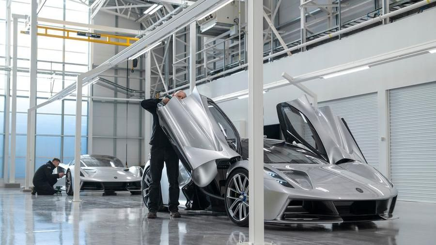The assembly of the Lotus Evija