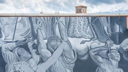 Il Giudizio Universale sulla facciata del Tribunale: il murale di Ozmo a Rieti