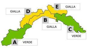 Arpal: domani allerta gialla per temporali