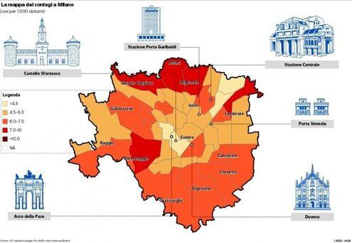 Cartina Dellitalia Milano.Mappa Dei Contagi A Milano L Immagine Che Mostra I Dati In Citta E Nell Hinterland La Repubblica