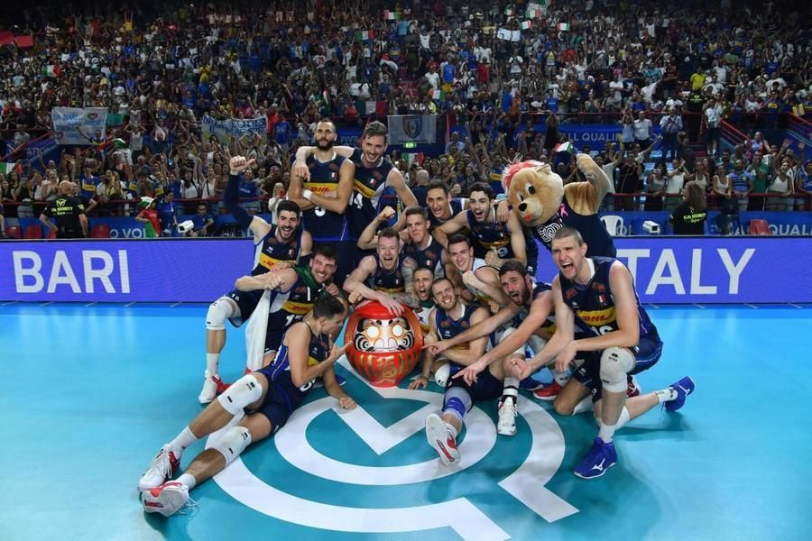 The men's national volleyball team at the Bari qualifying tournament in 2019, in which it also obtained three victories