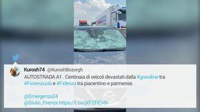 Maltempo, maxi grandinata in A1: danneggiate centinaia di auto in Emilia