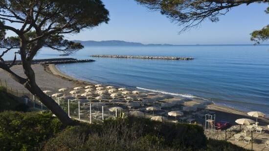 An overview of the private beach of