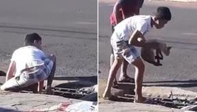 Nine-year-old boy saves a cat trapped in a manhole: