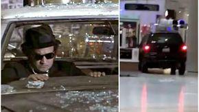 Auto distrugge negozi in un centro commerciale, ma non è una scena dei Blues Brothers