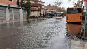 Acqua alta a Venezia, al Lido strade come fiumi: bus fermi