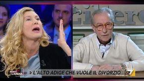 """Scontro furioso tra la Biancofiore e Vittorio Feltri:""""Sembra la sua parodia di Crozza"""", lui la insulta e se ne va"""