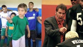 Il bimbo carica gli amici negli spogliatoi prima della partita, il discorso è da leader proprio come Al Pacino
