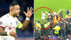 Il capitano del Lione Depay si scaglia contro un tifoso in tribuna per difendere il compagno da uno striscione razzista