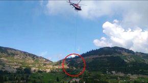 Lo spettacolare intervento dei vigili del fuoco, con l'elicottero portano in salvo una mucca caduta nel dirupo