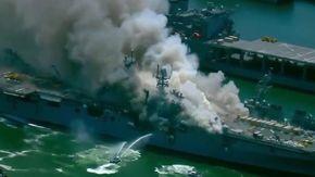 In fiamme nave della Marina Usa a San Diego dopo un'esplosione: erano stati investiti 250 milioni di dollari per dei lavori
