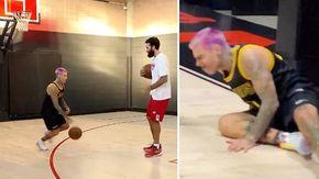 Sfida Fedez-Datome a basket, ma il cantante finisce KO
