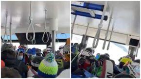 Cervinia, gli sciatori ammassati nella funivia nel primo giorno di apertura degli impianti