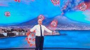 Covid, Giletti parla di sanità in Campania: alle sue spalle il Vesuvio erutta il virus e indigna i social