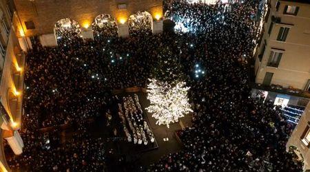 L'accensione dell'albero di Natale a Treviso visto dal drone