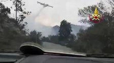 Genova, incendio a Cogoleto: i canadair in azione per spegnere le fiamme