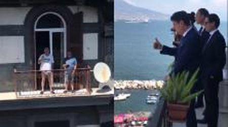 """Napoli, bizzarro dialogo tra il premier Conte e il vicino di balcone senza pantaloni: """"Sono anch'io avvocato"""""""