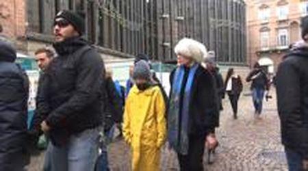Greta Thunberg a Torino, l'arrivo in piazza Castello