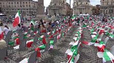 Centrodestra in piazza a Roma, Salvini, Meloni e Tajani non riempiono Piazza del Popolo