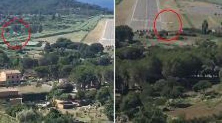 Elba, aereo da turismo finisce fuori pista: ecco il momento dell'incidente