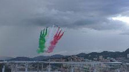 Inaugurazione Ponte Genova San Giorgio: il passaggio delle Frecce Tricolori viste dal ponte
