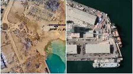 Libano, il porto di Beirut visto dall'alto prima e dopo l'esplosione