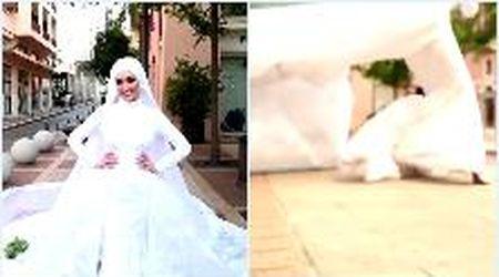 Beirut, posa per le fotografie nel giorno delle nozze: l'esplosione la travolge