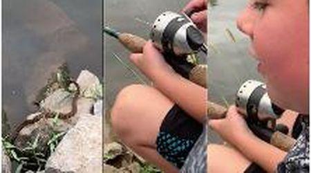 Usa, serpente e bambino pescano lo stesso pesce: la preda riesce ad avere la meglio