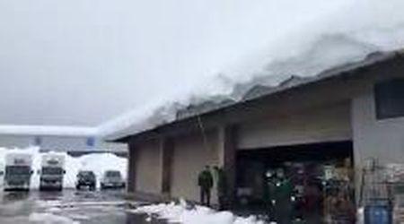 Giappone, il goffo tentativo di togliere la neve dal tetto finisce tra le risate