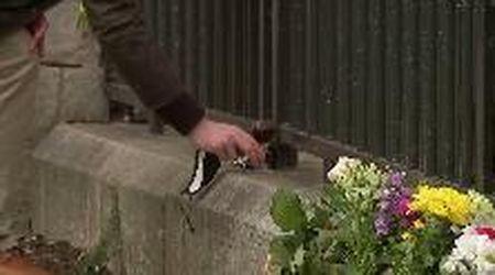 Addio al principe Filippo: fra i tanti fiori anche un calice di vino rosso
