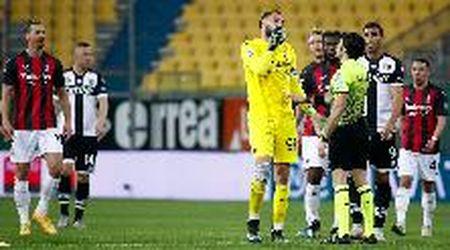 """Parma-Milan, Donnarumma contro l'arbitro Maresca: """"Che stai facendo? Sempre i protagonisti dobbiamo fare!"""""""