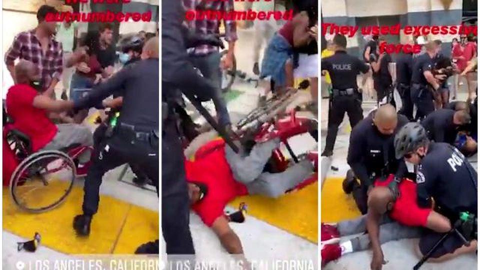 Los Angeles, la polizia scaraventa a terra un disabile dalla sedia a rotelle e si accanisce contro durante una protesta pacifica